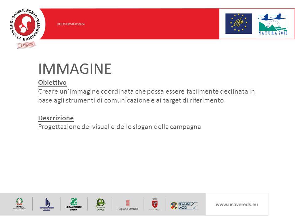 IMMAGINE Obiettivo Creare un'immagine coordinata che possa essere facilmente declinata in base agli strumenti di comunicazione e ai target di riferimento.