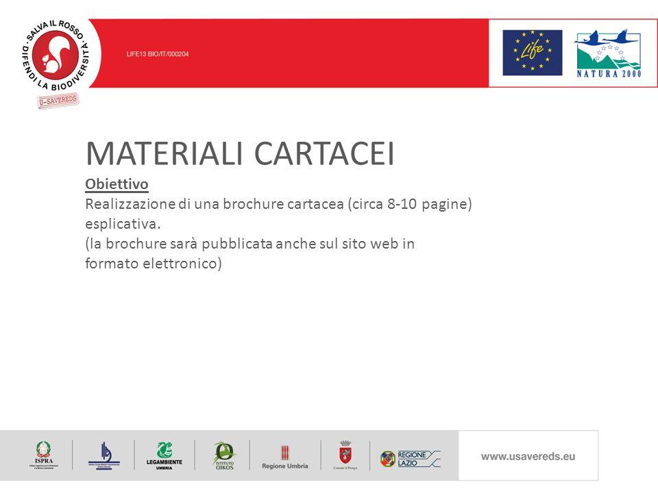 MATERIALI CARTACEI Obiettivo Realizzazione di una brochure cartacea (circa 8-10 pagine) esplicativa.