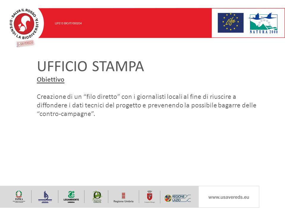 UFFICIO STAMPA Obiettivo Creazione di un filo diretto con i giornalisti locali al fine di riuscire a diffondere i dati tecnici del progetto e prevenendo la possibile bagarre delle contro-campagne .