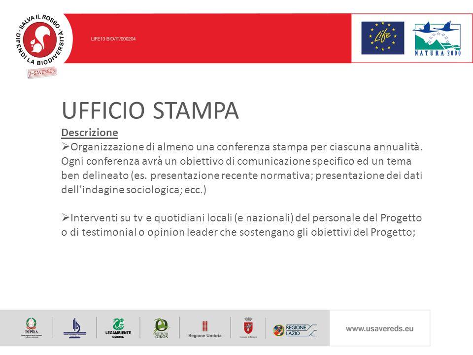 UFFICIO STAMPA Descrizione  Organizzazione di almeno una conferenza stampa per ciascuna annualità.