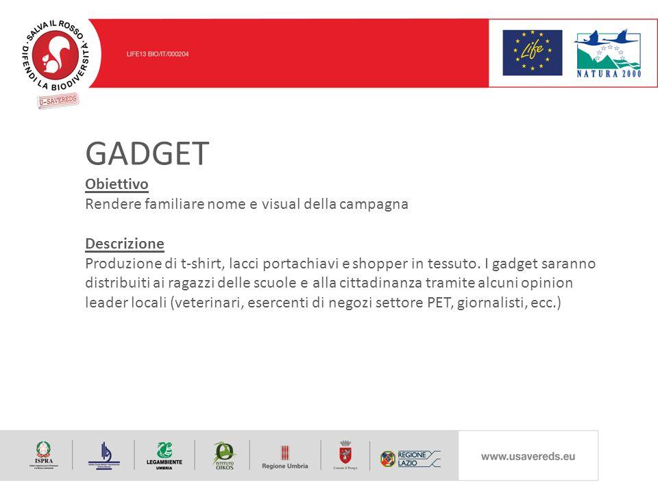 GADGET Obiettivo Rendere familiare nome e visual della campagna Descrizione Produzione di t-shirt, lacci portachiavi e shopper in tessuto.