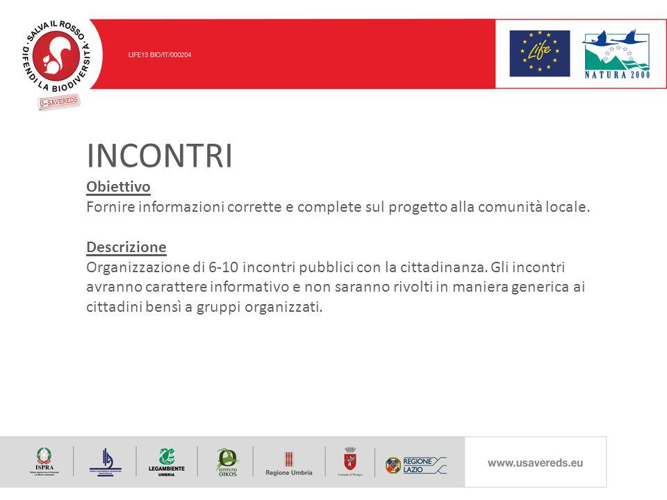 INCONTRI Obiettivo Fornire informazioni corrette e complete sul progetto alla comunità locale.