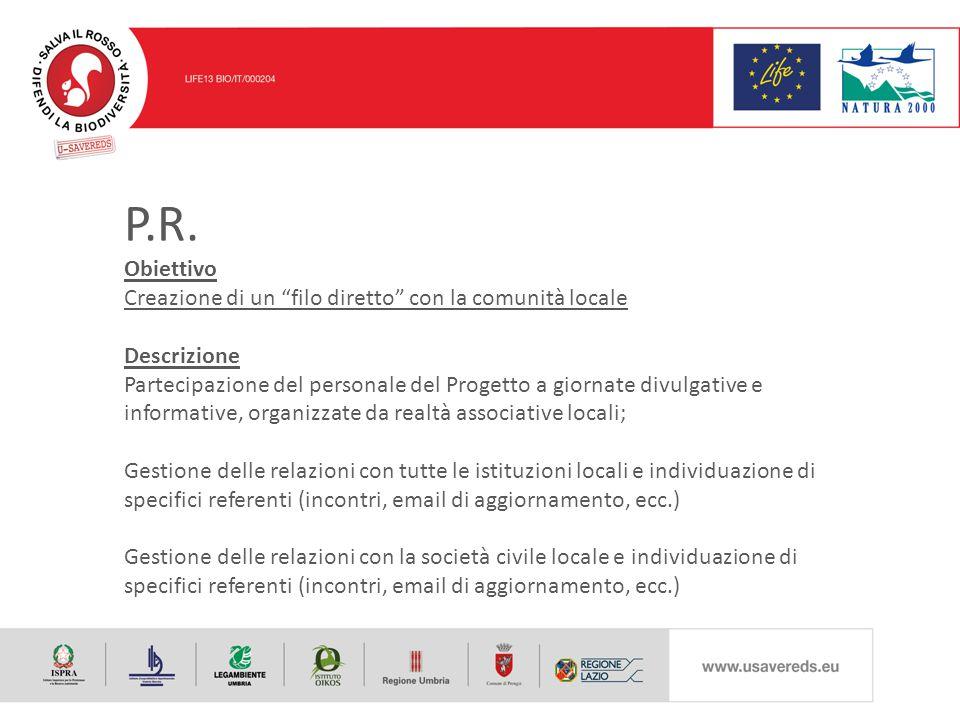 """P.R. Obiettivo Creazione di un """"filo diretto"""" con la comunità locale Descrizione Partecipazione del personale del Progetto a giornate divulgative e in"""