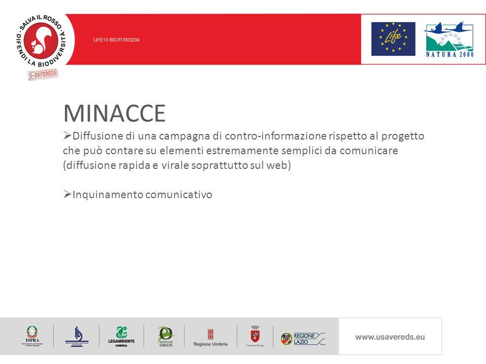 MINACCE  Diffusione di una campagna di contro-informazione rispetto al progetto che può contare su elementi estremamente semplici da comunicare (diffusione rapida e virale soprattutto sul web)  Inquinamento comunicativo