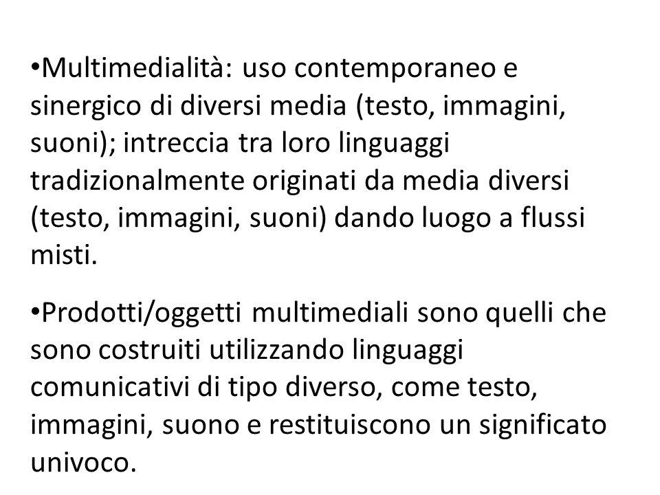 Multimedialità: uso contemporaneo e sinergico di diversi media (testo, immagini, suoni); intreccia tra loro linguaggi tradizionalmente originati da me