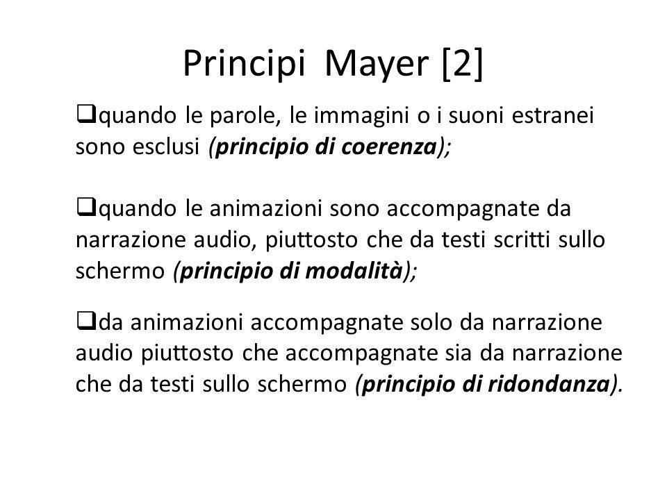Principi Mayer [2]  quando le parole, le immagini o i suoni estranei sono esclusi (principio di coerenza);  quando le animazioni sono accompagnate d