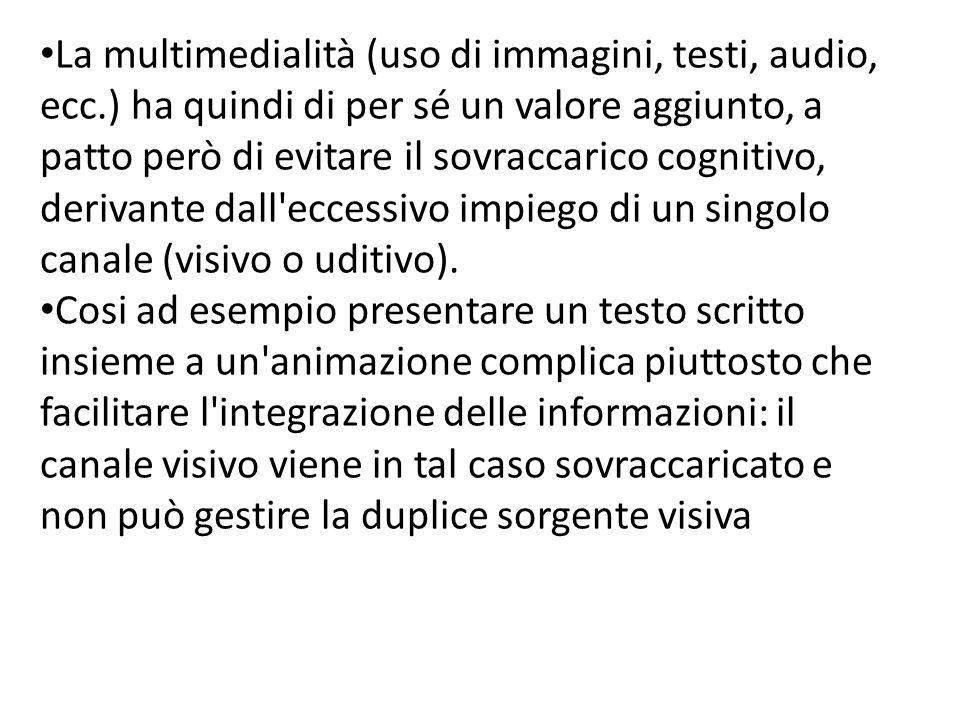 La multimedialità (uso di immagini, testi, audio, ecc.) ha quindi di per sé un valore aggiunto, a patto però di evitare il sovraccarico cognitivo, derivante dall eccessivo impiego di un singolo canale (visivo o uditivo).