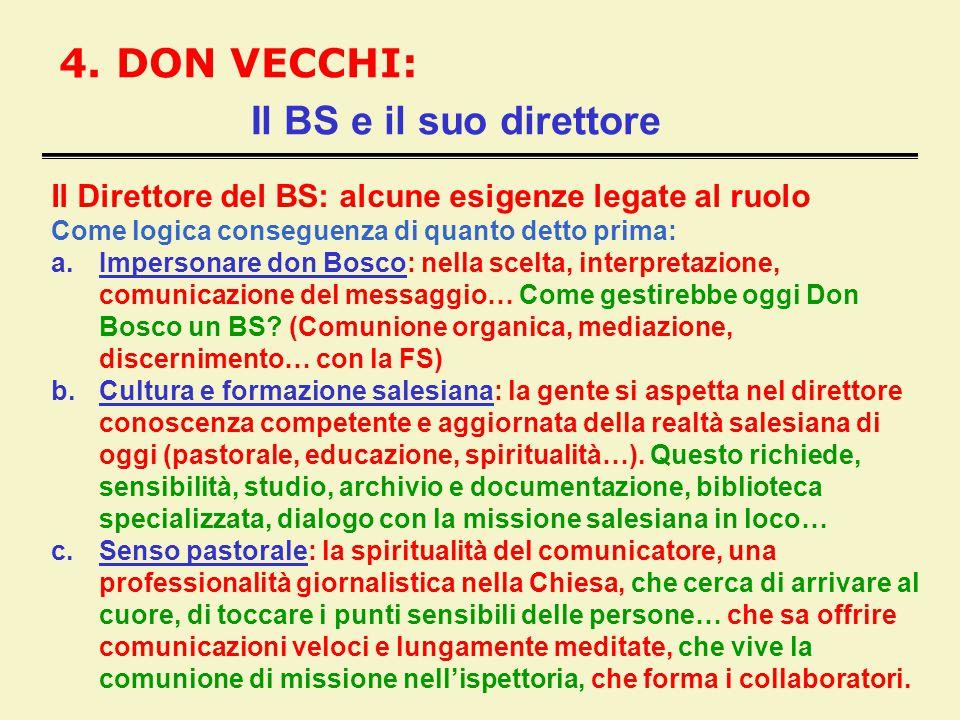 4. DON VECCHI: Il BS e il suo direttore Il Direttore del BS: alcune esigenze legate al ruolo Come logica conseguenza di quanto detto prima: a.Imperson