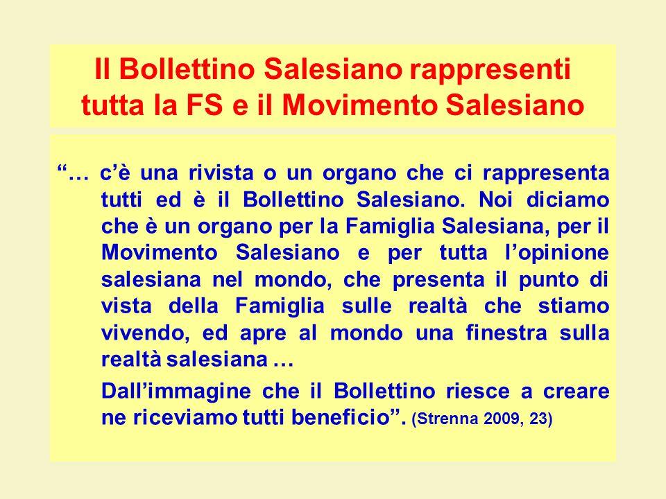 Il Bollettino Salesiano rappresenti tutta la FS e il Movimento Salesiano … c'è una rivista o un organo che ci rappresenta tutti ed è il Bollettino Salesiano.