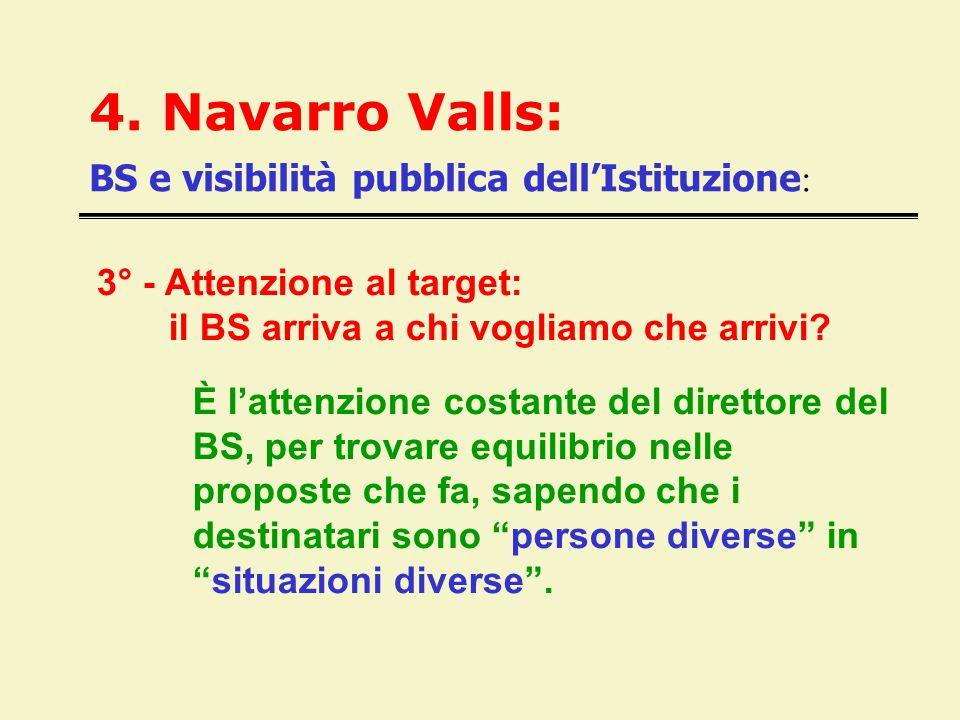 4. Navarro Valls: BS e visibilità pubblica dell'Istituzione : 3° - Attenzione al target: il BS arriva a chi vogliamo che arrivi? È l'attenzione costan