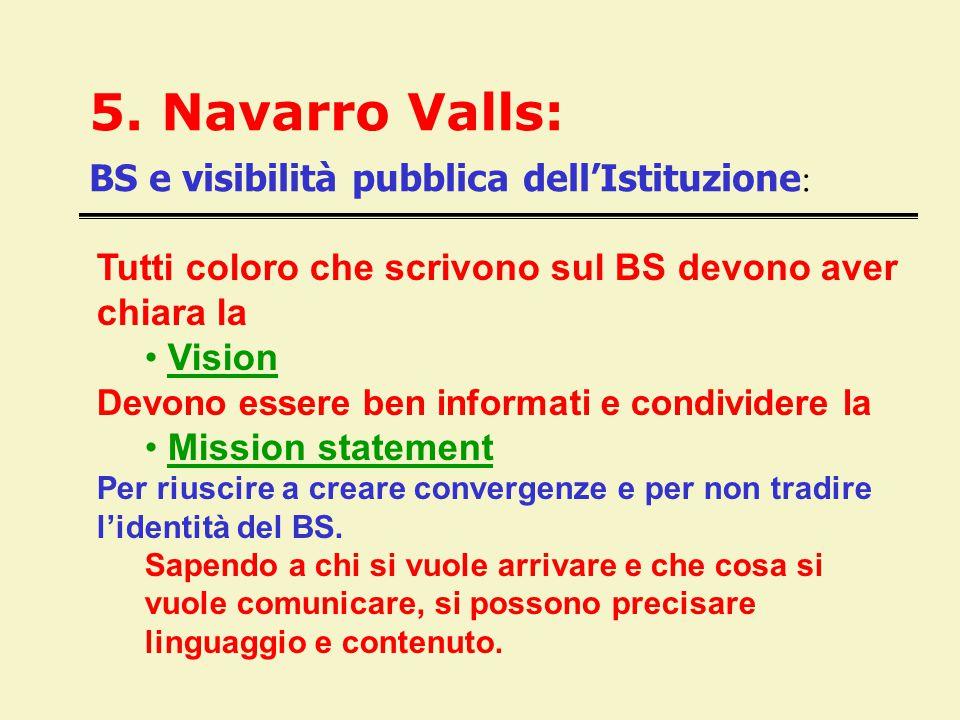 5. Navarro Valls: BS e visibilità pubblica dell'Istituzione : Tutti coloro che scrivono sul BS devono aver chiara la Vision Devono essere ben informat