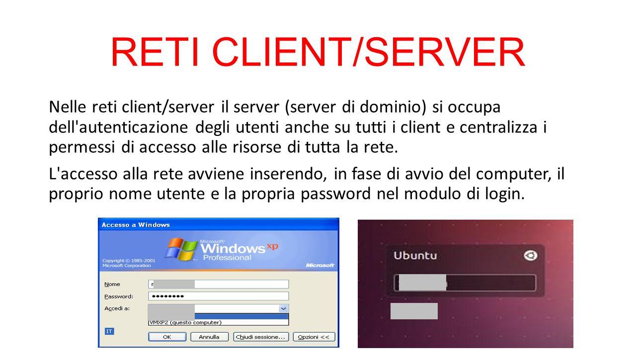 RETI CLIENT/SERVER Nelle reti client/server il server (server di dominio) si occupa dell'autenticazione degli utenti anche su tutti i client e central