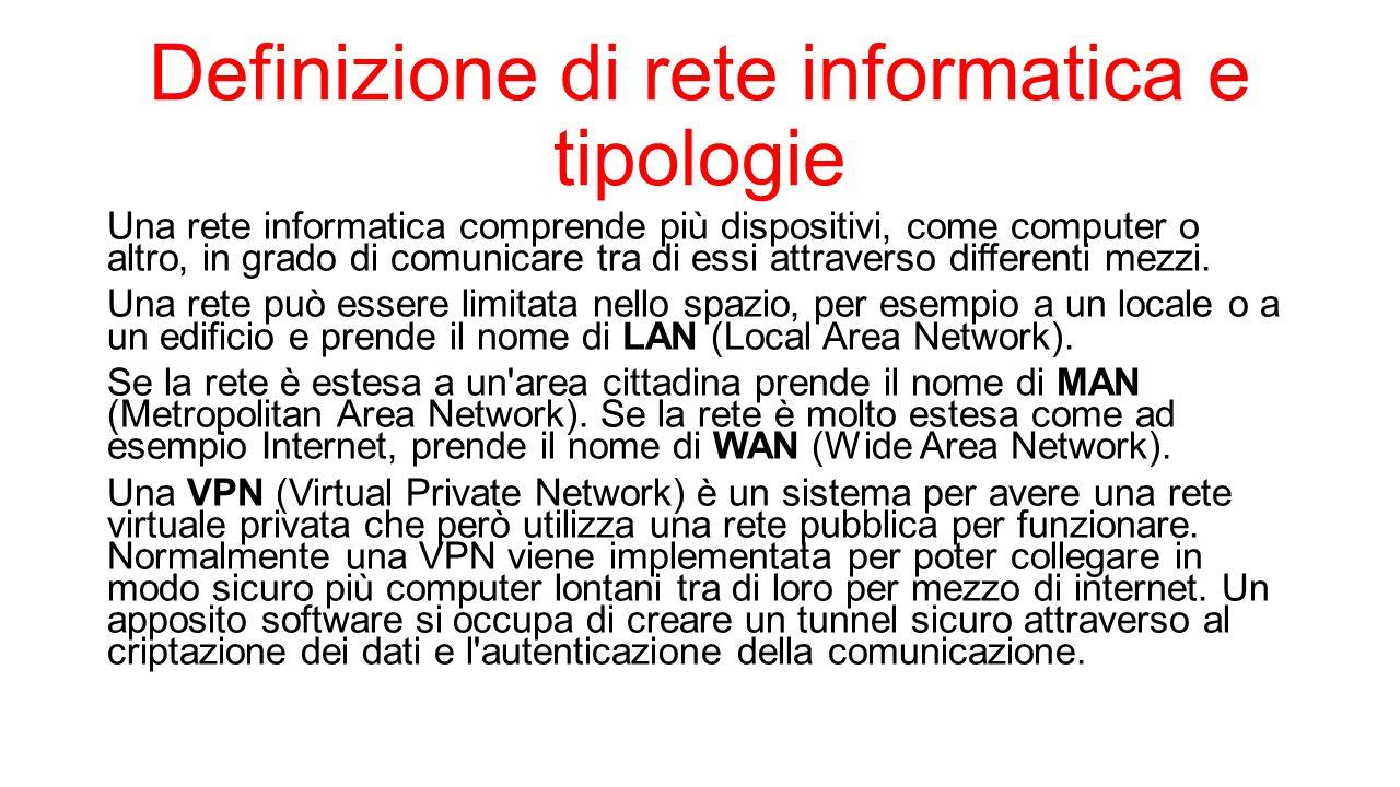 Definizione di rete informatica e tipologie Una rete informatica comprende più dispositivi, come computer o altro, in grado di comunicare tra di essi
