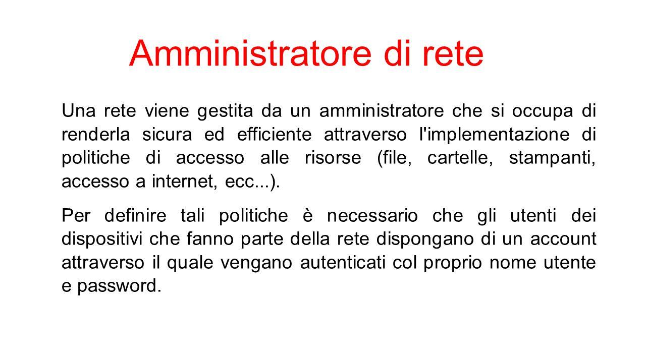 Amministratore di rete Una rete viene gestita da un amministratore che si occupa di renderla sicura ed efficiente attraverso l'implementazione di poli