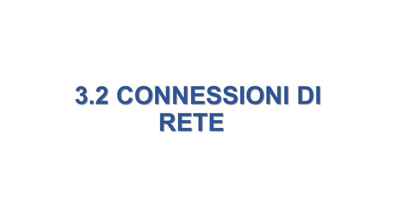 3.2 CONNESSIONI DI RETE 3.2 CONNESSIONI DI RETE
