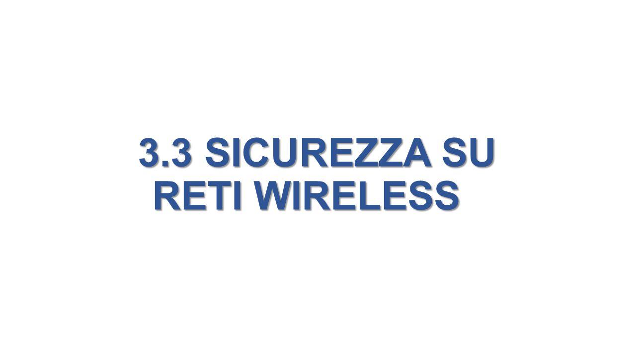 3.3 SICUREZZA SU RETI WIRELESS 3.3 SICUREZZA SU RETI WIRELESS