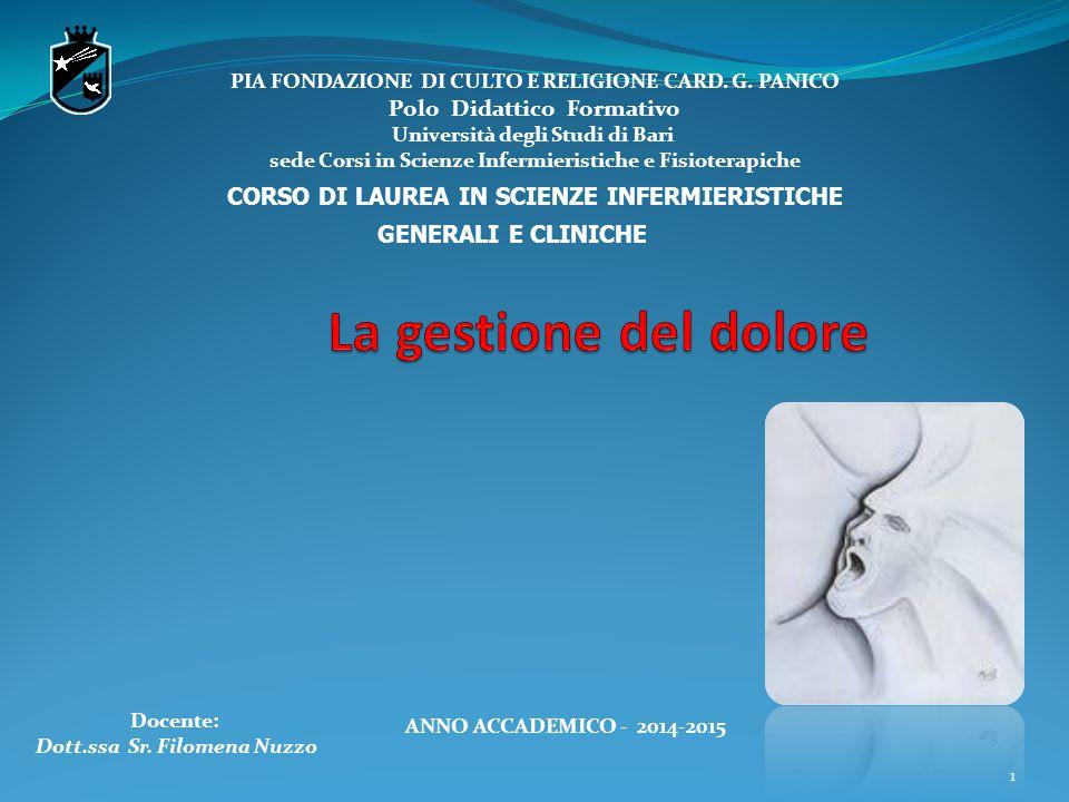 11 PIA FONDAZIONE DI CULTO E RELIGIONE CARD. G. PANICO Polo Didattico Formativo Università degli Studi di Bari sede Corsi in Scienze Infermieristiche