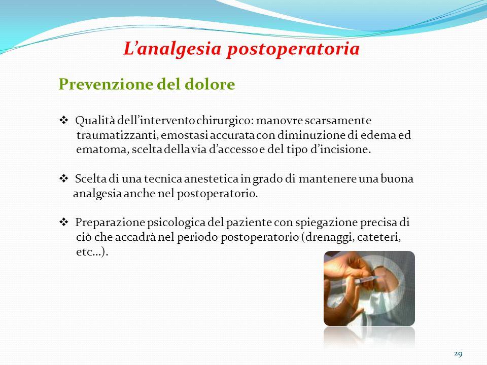 29 L'analgesia postoperatoria Prevenzione del dolore  Qualità dell'intervento chirurgico: manovre scarsamente traumatizzanti, emostasi accurata con d