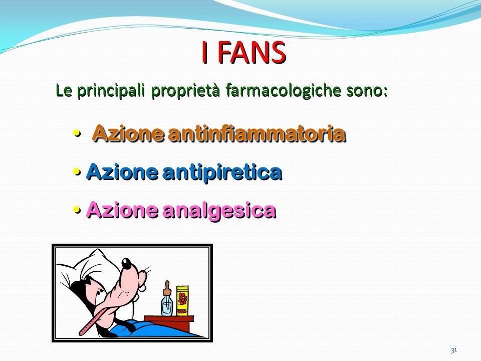 31 Azione antinfiammatoria Azione antipiretica Azione analgesica Azione antinfiammatoria Azione antipiretica Azione analgesica Le principali proprietà