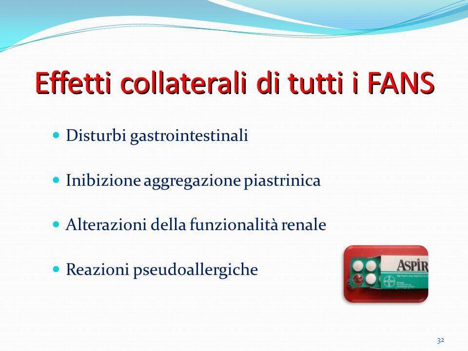 32 Effetti collaterali di tutti i FANS Disturbi gastrointestinali Inibizione aggregazione piastrinica Alterazioni della funzionalità renale Reazioni p