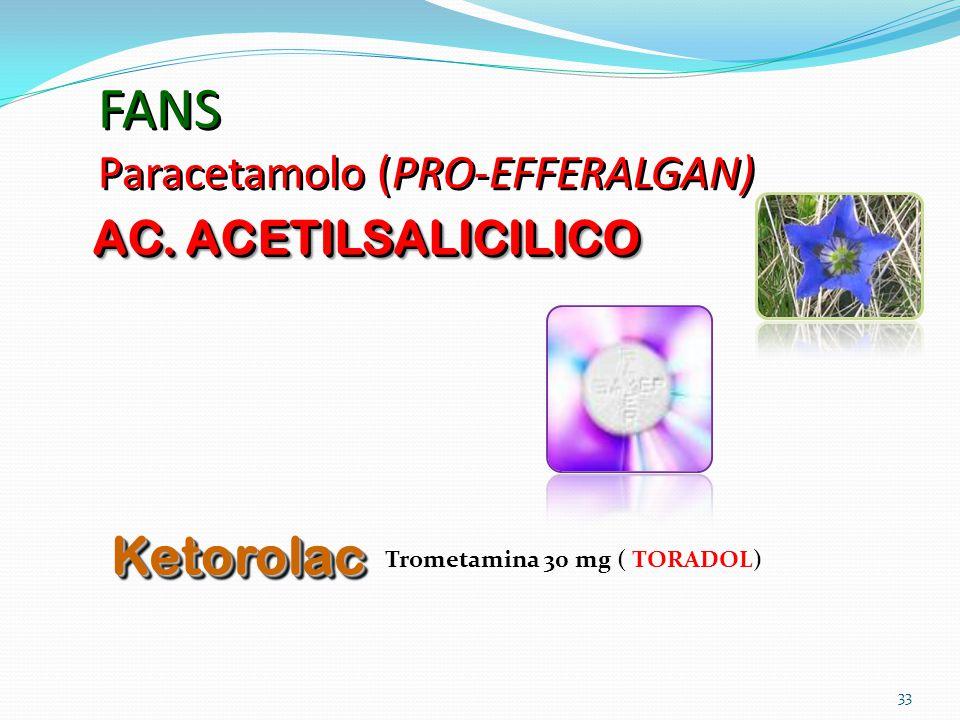 33 FANS Paracetamolo (PRO-EFFERALGAN) AC. ACETILSALICILICO KetorolacKetorolac ( TORADOL)Trometamina 30 mg