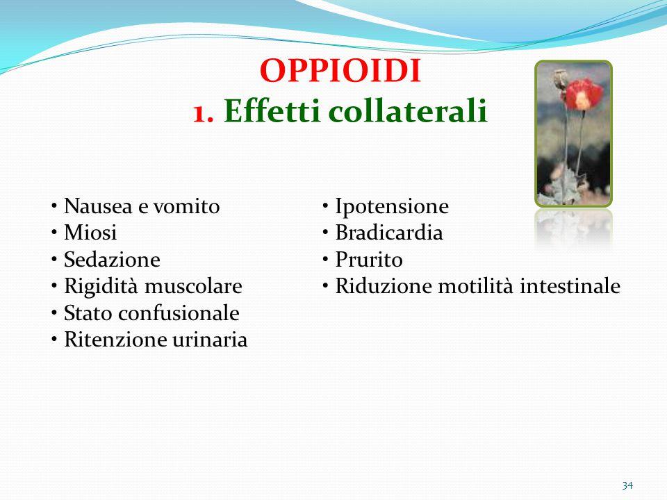 34 OPPIOIDI 1. Effetti collaterali Nausea e vomito Miosi Sedazione Rigidità muscolare Stato confusionale Ritenzione urinaria Ipotensione Bradicardia P