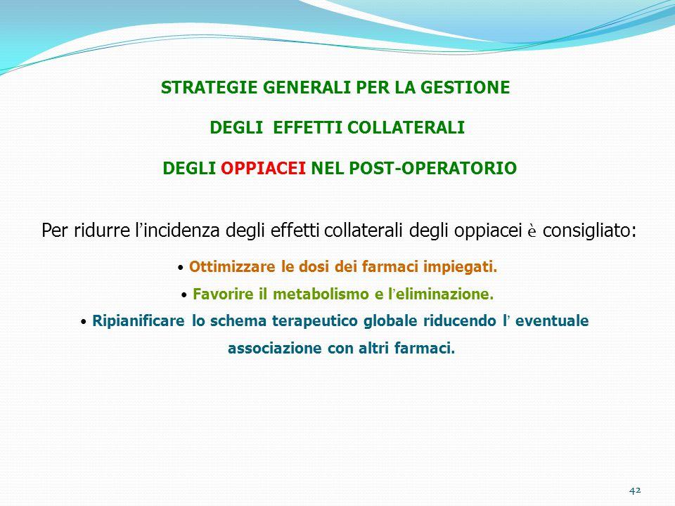 42 STRATEGIE GENERALI PER LA GESTIONE DEGLI EFFETTI COLLATERALI DEGLI OPPIACEI NEL POST-OPERATORIO Per ridurre l ' incidenza degli effetti collaterali