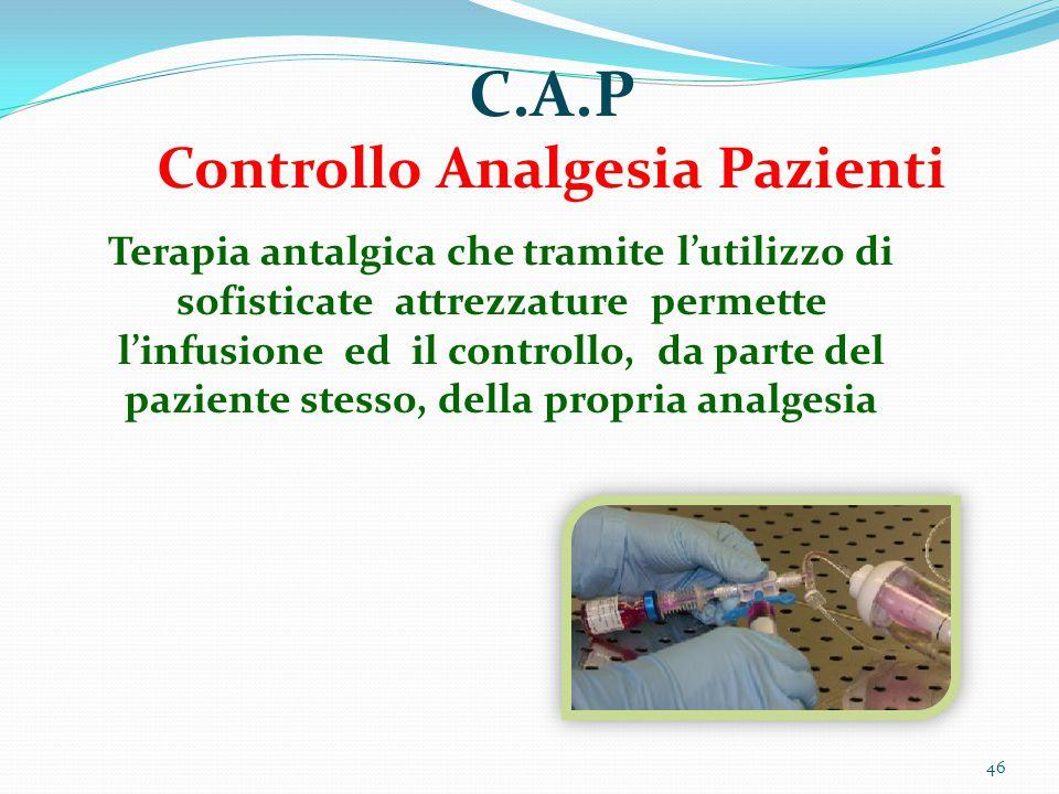 46 C.A.P Controllo Analgesia Pazienti Terapia antalgica che tramite l'utilizzo di sofisticate attrezzature permette l'infusione ed il controllo, da pa