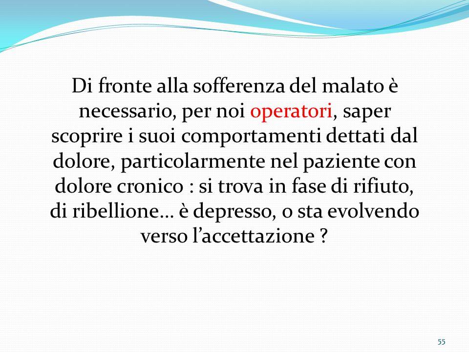 55 Di fronte alla sofferenza del malato è necessario, per noi operatori, saper scoprire i suoi comportamenti dettati dal dolore, particolarmente nel p