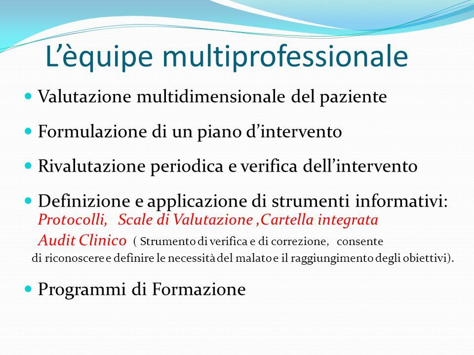 Valutazione multidimensionale del paziente Formulazione di un piano d'intervento Rivalutazione periodica e verifica dell'intervento Definizione e appl