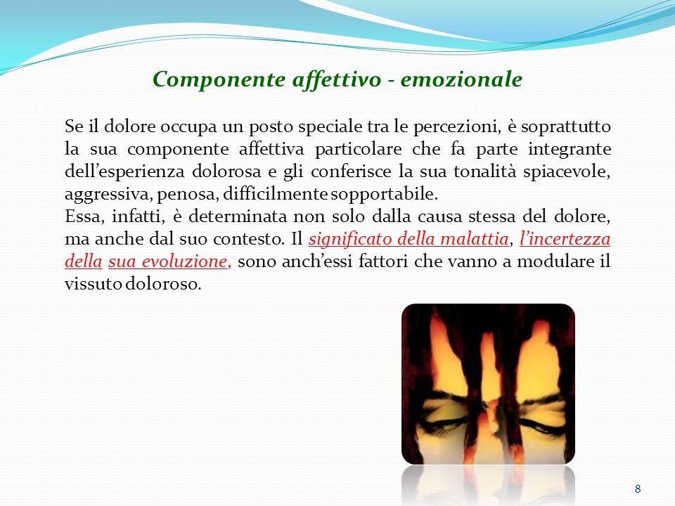 8 Componente affettivo - emozionale Se il dolore occupa un posto speciale tra le percezioni, è soprattutto la sua componente affettiva particolare che