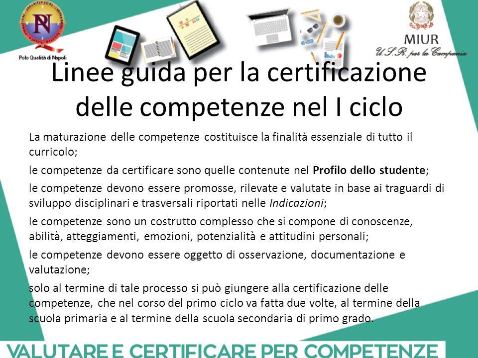 Linee guida per la certificazione delle competenze nel I ciclo La maturazione delle competenze costituisce la finalità essenziale di tutto il curricol