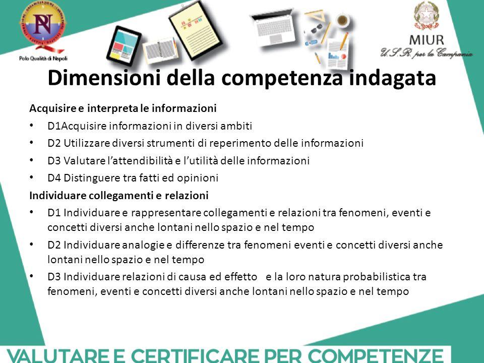 Dimensioni della competenza indagata Acquisire e interpreta le informazioni D1Acquisire informazioni in diversi ambiti D2 Utilizzare diversi strumenti