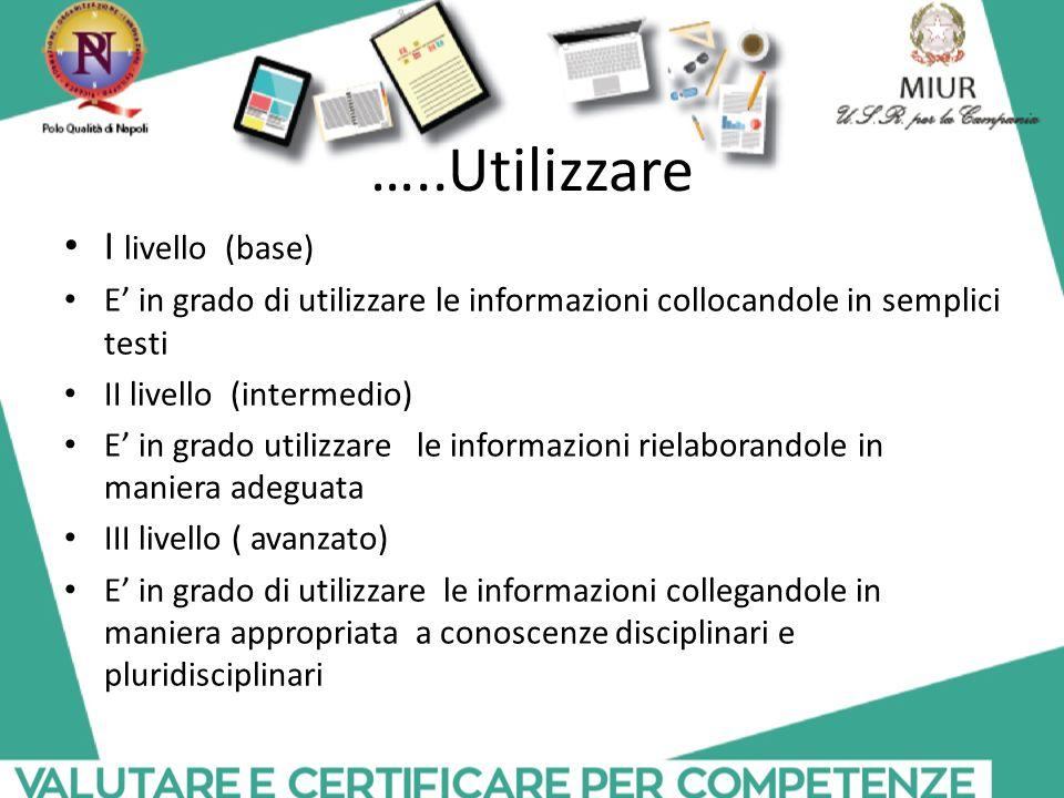 …..Utilizzare I livello (base) E' in grado di utilizzare le informazioni collocandole in semplici testi II livello (intermedio) E' in grado utilizzare