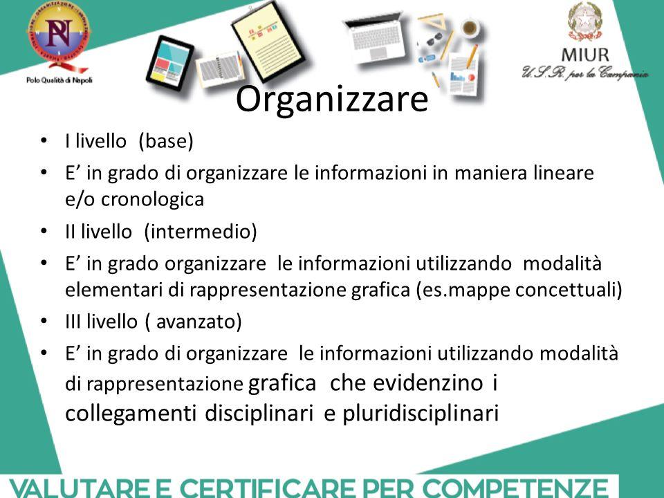 Organizzare I livello (base) E' in grado di organizzare le informazioni in maniera lineare e/o cronologica II livello (intermedio) E' in grado organiz