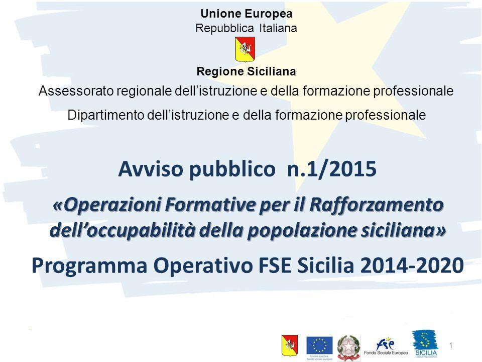 10 giugno 2015 Palermo 1 Avviso pubblico n.1/2015 « Operazioni Formative per il Rafforzamento dell'occupabilità della popolazione siciliana» Programma