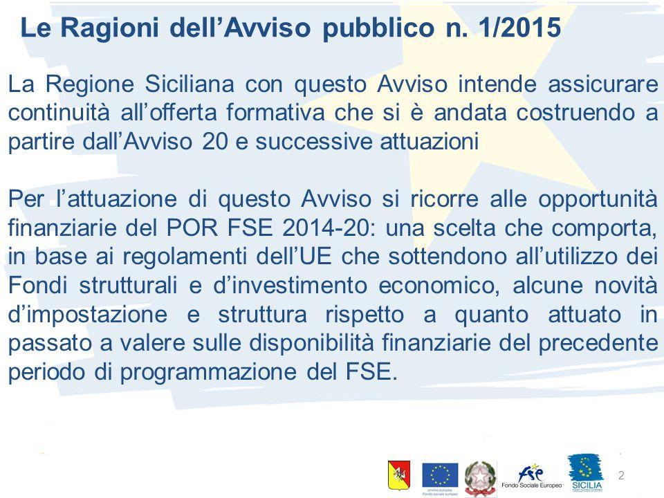 10 giugno 2015 Palermo 2 Le Ragioni dell'Avviso pubblico n. 1/2015 La Regione Siciliana con questo Avviso intende assicurare continuità all'offerta fo