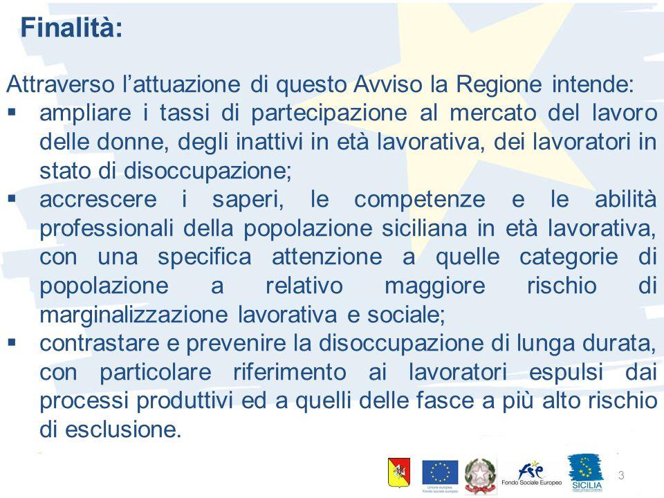 10 giugno 2015 Palermo 3 Finalità: Attraverso l'attuazione di questo Avviso la Regione intende:  ampliare i tassi di partecipazione al mercato del la