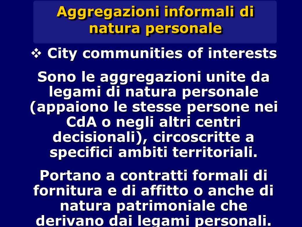 Aggregazioni informali di natura personale  City communities of interests Sono le aggregazioni unite da legami di natura personale (appaiono le stesse persone nei CdA o negli altri centri decisionali), circoscritte a specifici ambiti territoriali.