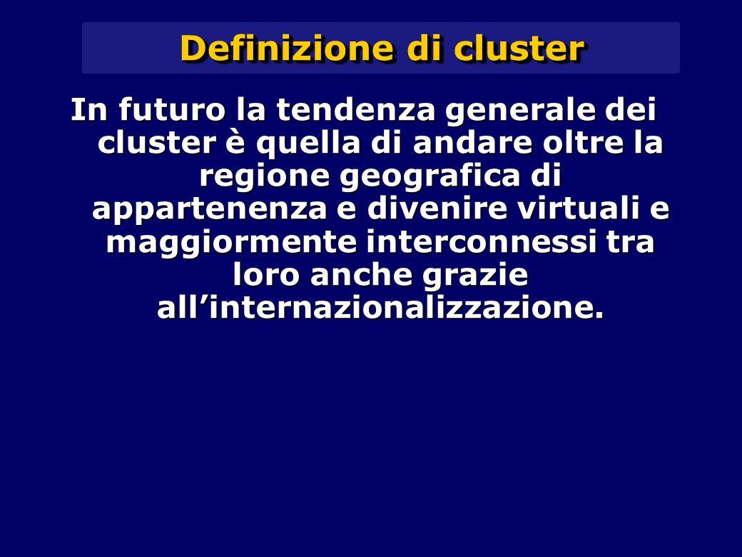 Definizione di cluster In futuro la tendenza generale dei cluster è quella di andare oltre la regione geografica di appartenenza e divenire virtuali e maggiormente interconnessi tra loro anche grazie all'internazionalizzazione.