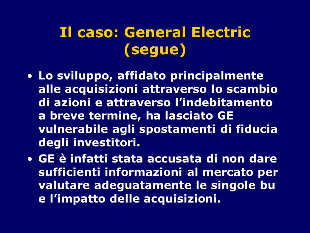 Il caso: General Electric (segue) Lo sviluppo, affidato principalmente alle acquisizioni attraverso lo scambio di azioni e attraverso l'indebitamento