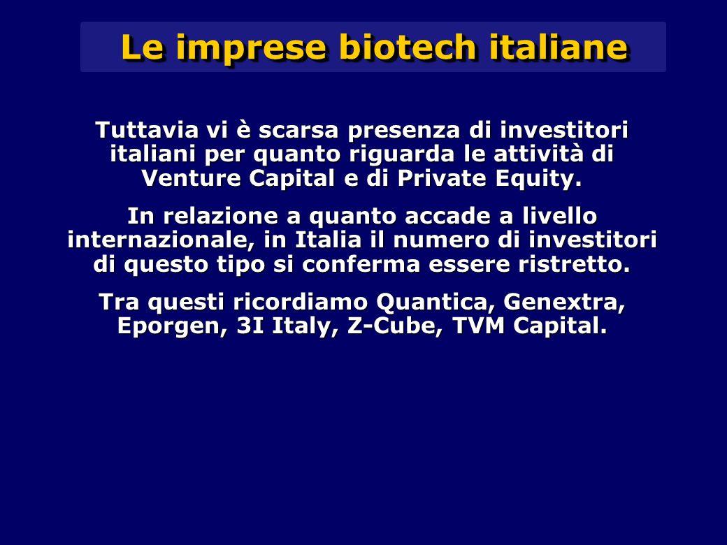 Tuttavia vi è scarsa presenza di investitori italiani per quanto riguarda le attività di Venture Capital e di Private Equity.