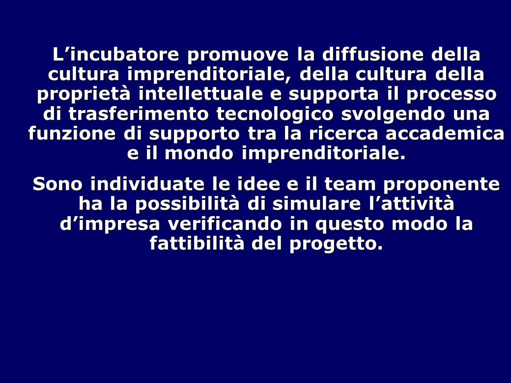 L'incubatore promuove la diffusione della cultura imprenditoriale, della cultura della proprietà intellettuale e supporta il processo di trasferimento