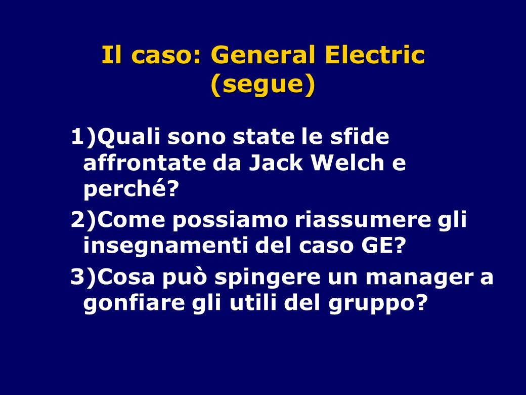 Il caso: General Electric (segue) 1)Quali sono state le sfide affrontate da Jack Welch e perché? 2)Come possiamo riassumere gli insegnamenti del caso