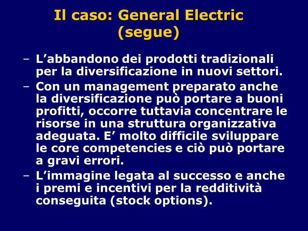 Il caso: General Electric (segue) –L'abbandono dei prodotti tradizionali per la diversificazione in nuovi settori. –Con un management preparato anche