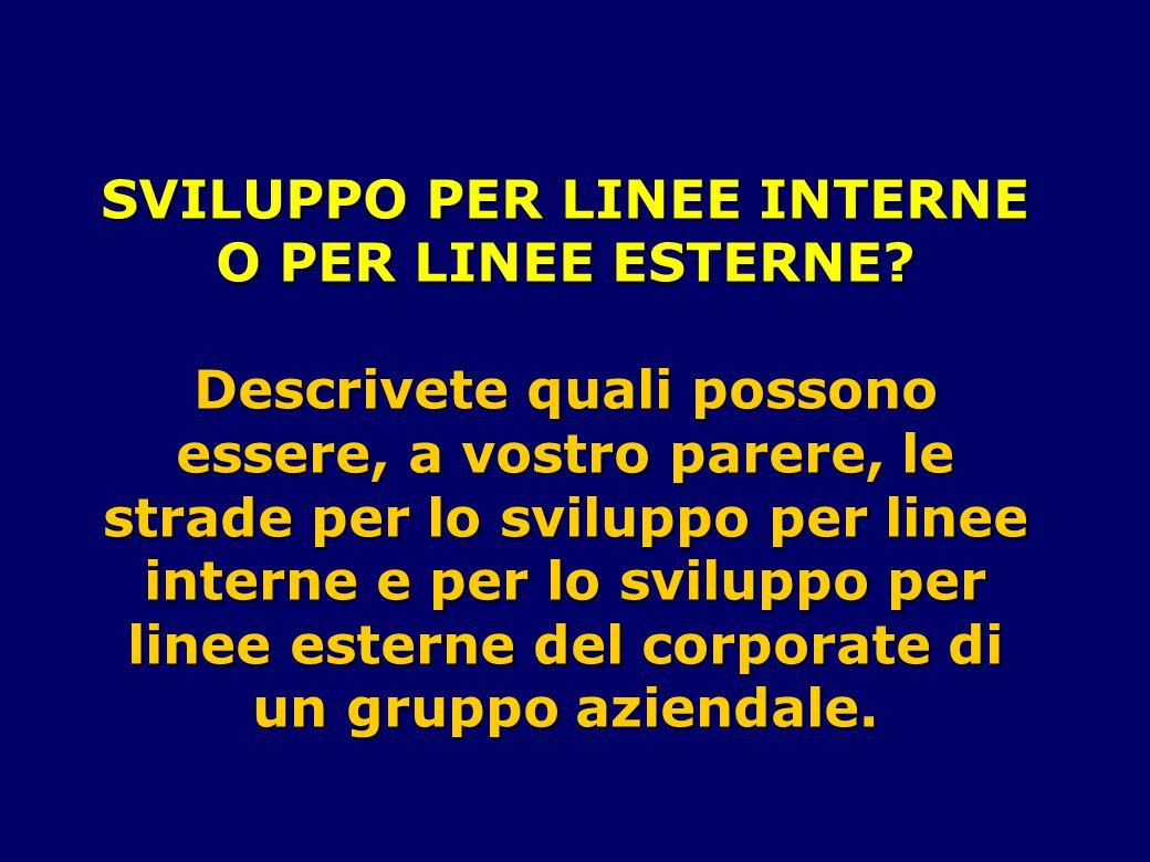 SVILUPPO PER LINEE INTERNE O PER LINEE ESTERNE.