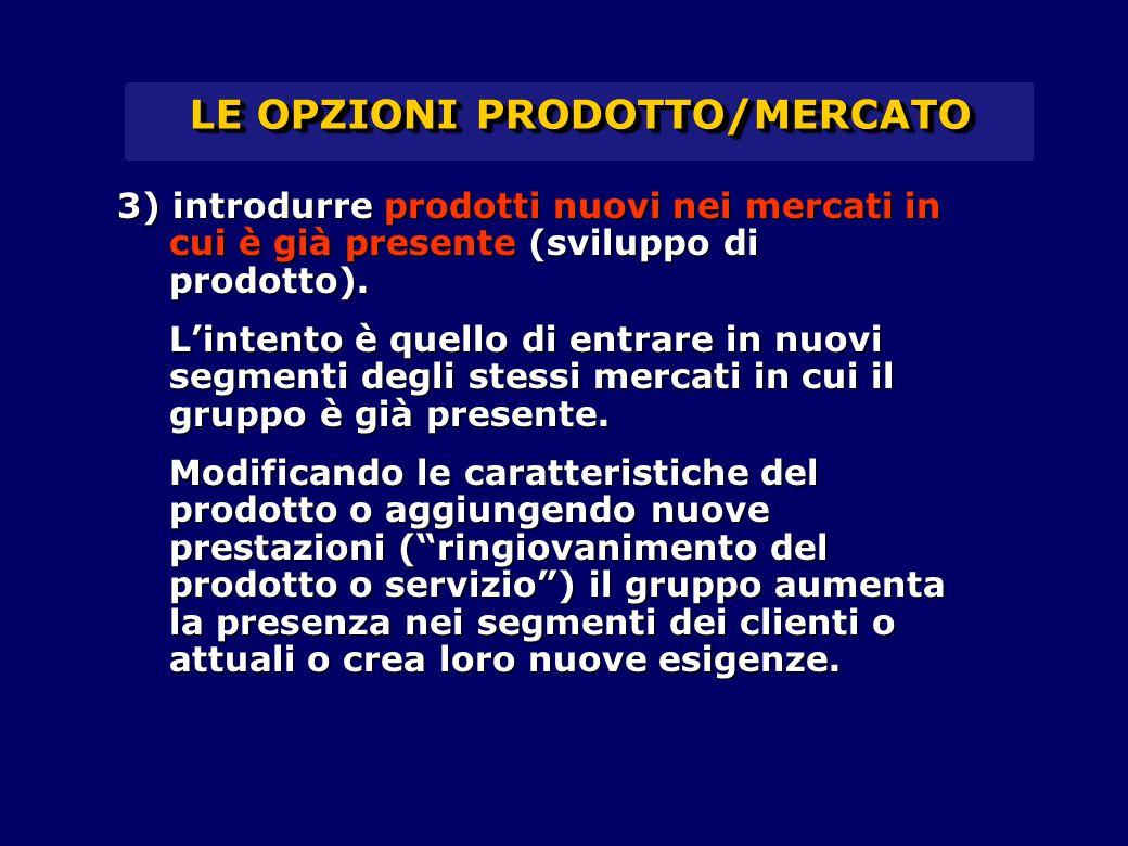 LE OPZIONI PRODOTTO/MERCATO 3) introdurre prodotti nuovi nei mercati in cui è già presente (sviluppo di prodotto). L'intento è quello di entrare in nu