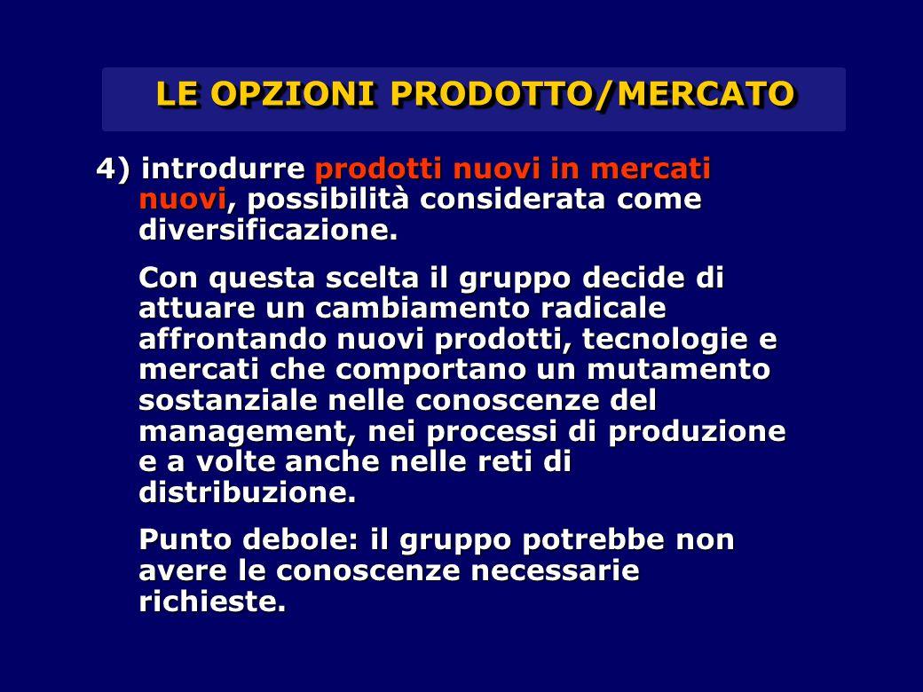 LE OPZIONI PRODOTTO/MERCATO 4) introdurre prodotti nuovi in mercati nuovi, possibilità considerata come diversificazione. Con questa scelta il gruppo
