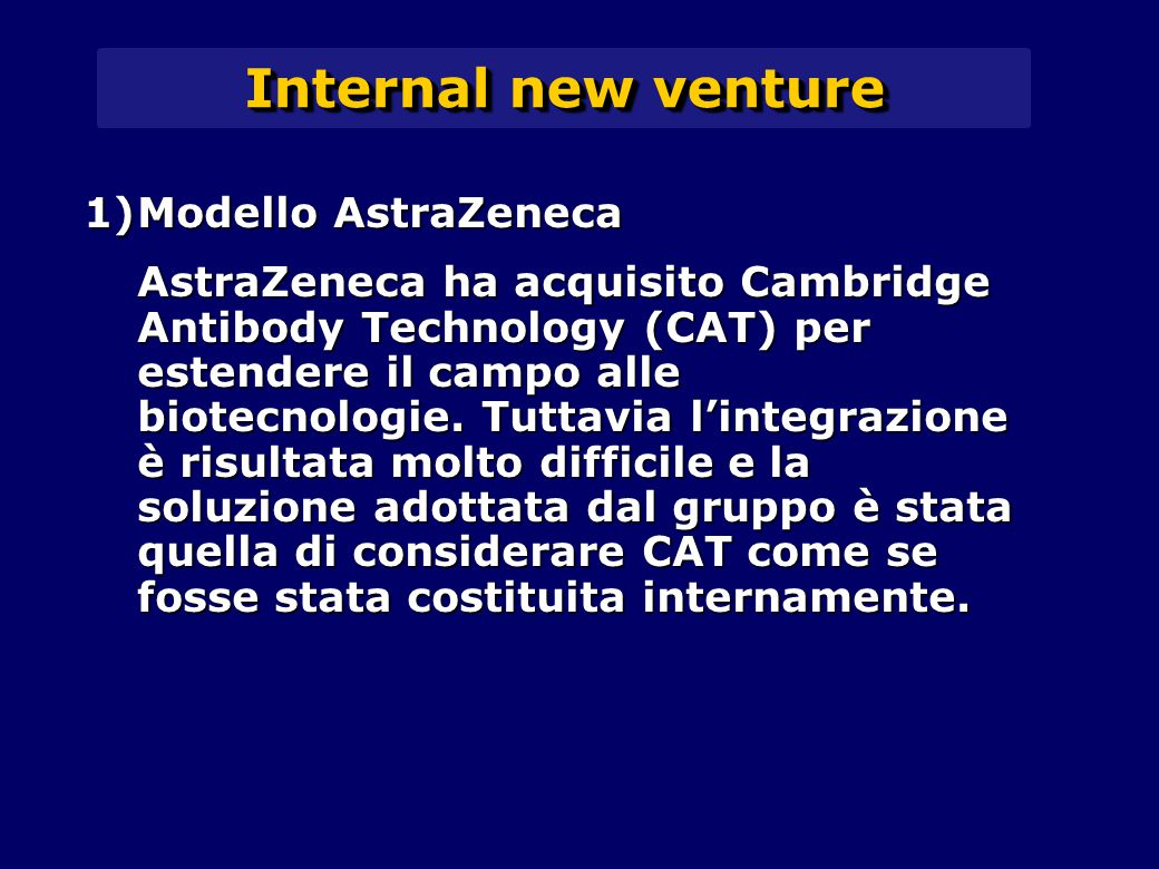 Internal new venture 1)Modello AstraZeneca AstraZeneca ha acquisito Cambridge Antibody Technology (CAT) per estendere il campo alle biotecnologie.