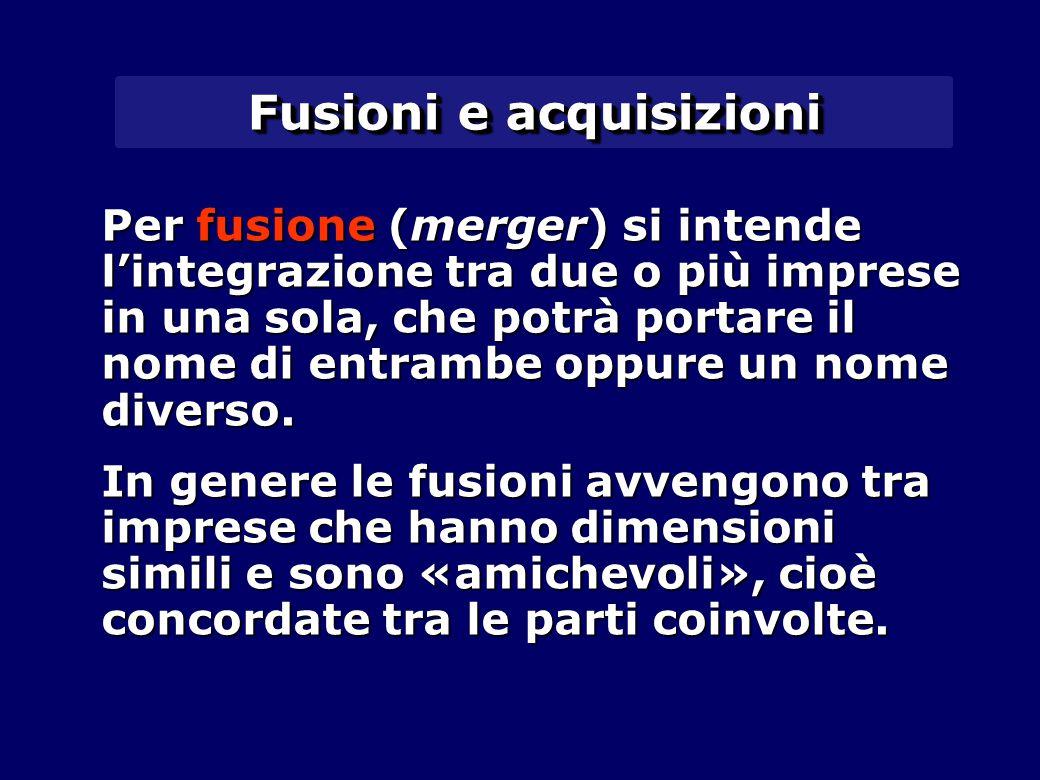 Fusioni e acquisizioni Per fusione (merger) si intende l'integrazione tra due o più imprese in una sola, che potrà portare il nome di entrambe oppure un nome diverso.